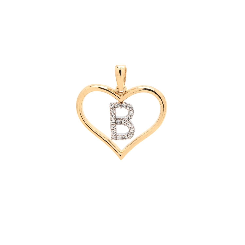 9ffac9868 B betű szívben arany medál | Kivaloarany.hu