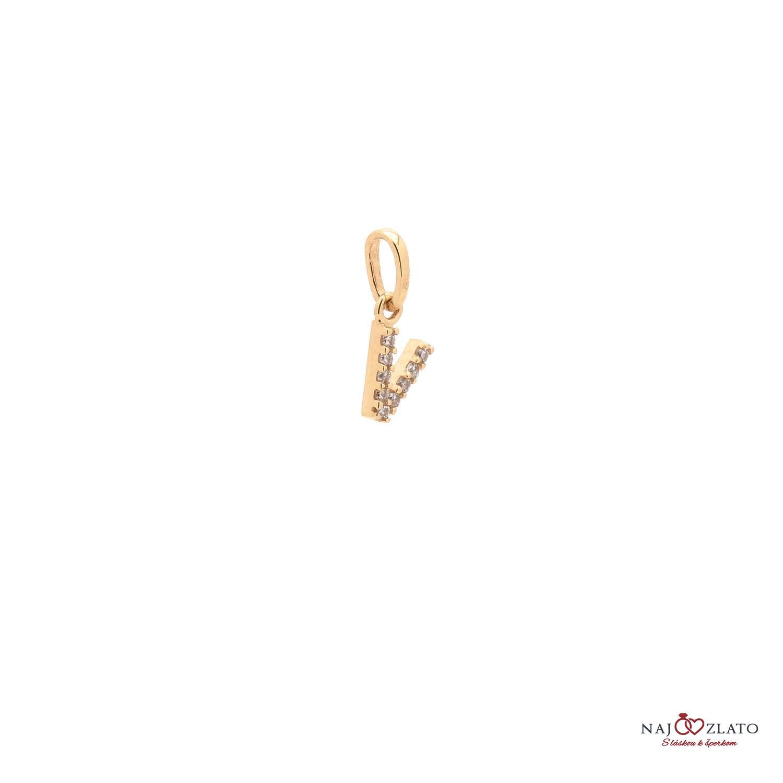 be4259973 V betű ékköves arany medál | Kivaloarany.hu